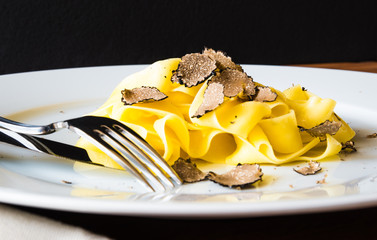 Pasta with truffles.Typical autumn dish.