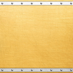 Golden metal plate with rivets