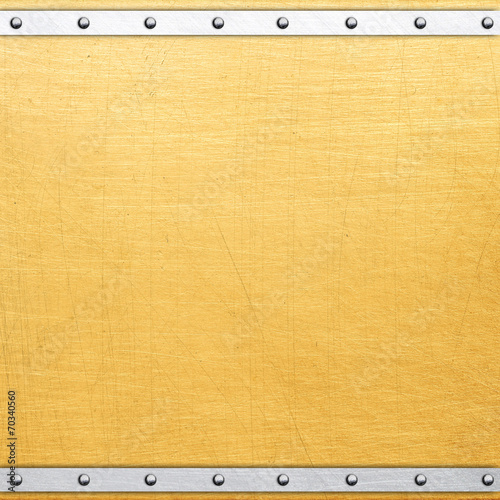 canvas print picture Golden metal plate with rivets