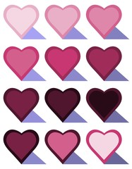 Set of hearts icons with triangle shadow