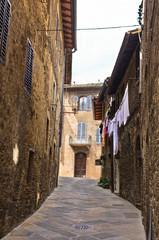 Narrow backstreets at San Gimignano, Tuscany