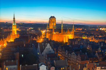 Old town of Gdansk with city hall at night, Poland