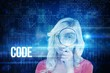 Code against blue technology interface with binary code
