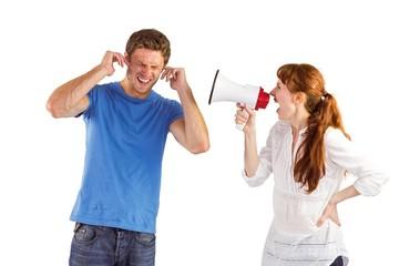 Woman shouting through a megaphone
