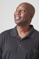 Black man in black polo