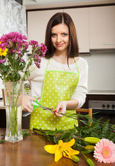 housewife doing  bouquet
