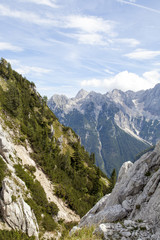Beautiful scenery of high mountain in Slovenian Alps