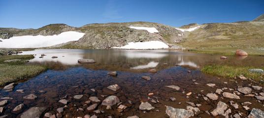Panoramic photo of Besseggen Ridge in Jotunheimen National Park
