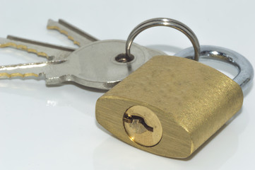 Padlock and key with white background