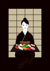 握り寿司と着物の女性