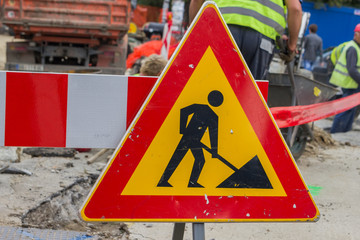 Traffic sign for construction works in street and workers 3