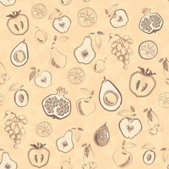 Seamless pattern with fruits