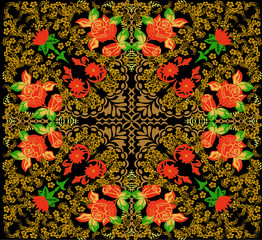 gold on black decorated square with red roses