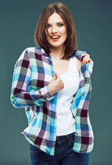 Portrait of happy young woman casual style dressed.