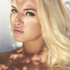 pretty girl.beautiful young blond woman.summer sunlight