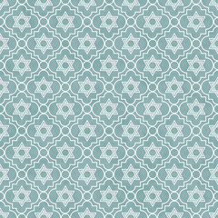 Blue and White Star of David Repeat Pattern Background