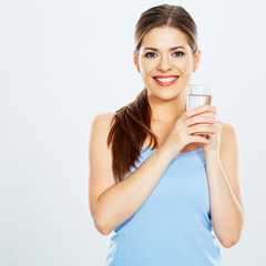 smiling woman drink water with glass . white background
