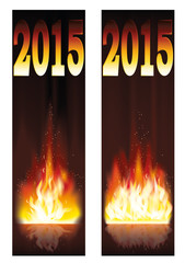 Fire banners 2015 new year vector