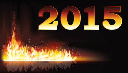Fire flame 2015 new year card, vector illustration
