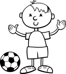 boy with ball cartoon coloring page