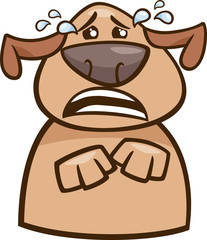 crying dog cartoon illustration
