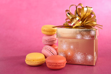 gift and macaroons