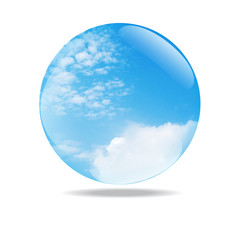 blue sky with clouds glass bubble vector illustration