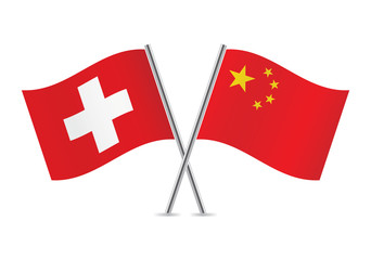 Chinese and Swiss flags. Vector illustration.