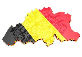 map illustration of Belgium with flag