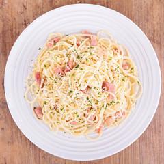 spaghetti, cheese and bacon