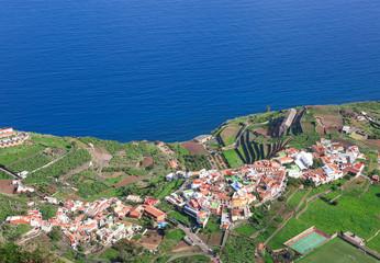 La Gomera - Luftaufnahme von Agulo vom Mirador de Abrante