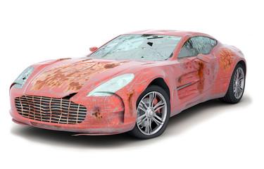 Roter zerbeulter, zerkratzter, verrosteter Sportwagen
