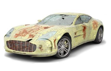 Gelber zerbeulter, zerkratzter, verrosteter Sportwagen