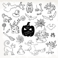 Sketch doodle Halloween icon set. Hand draw vector illustration