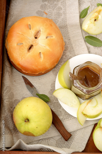 canvas print picture Homemade Organic Apple Pie Dessert Ready to Eat