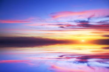 mystic sunset on the sea