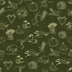 Kitchen seamless pattern with vegetables on a green background.