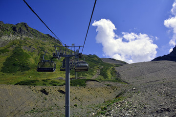 The ski lift in the mountains