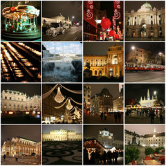 Collage of landmarks in Christmas Vienna