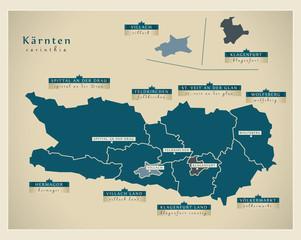 Moderne Landkarte - Kärnten AT