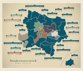 Moderne Landkarte - Niederösterreich AT