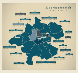 Moderne Landkarte - Oberösterreich AT