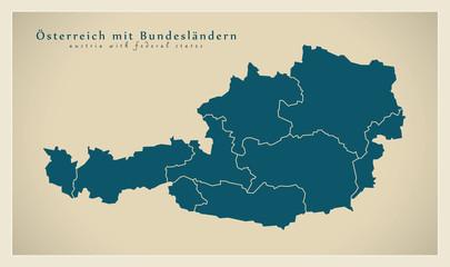 Moderne Landkarte - Österreich mit Bundesländern AT