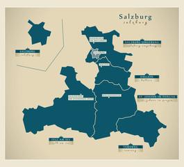 Moderne Landkarte - Salzburg AT