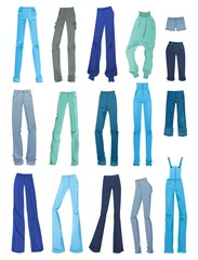 Set of women's jeans