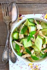 Oriental salad with cucumber and chichen