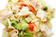 Close Up of Chicken and Broccoli with Pasta Noodles