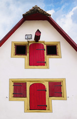 Facade of old medieval house in Rothenburg ob der Tauber, German