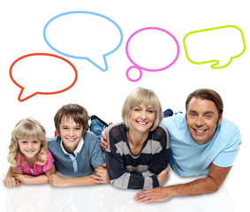 Happy family with speech bubbles