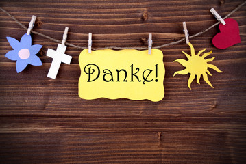 Banner with Danke and Different Symbols on a Line